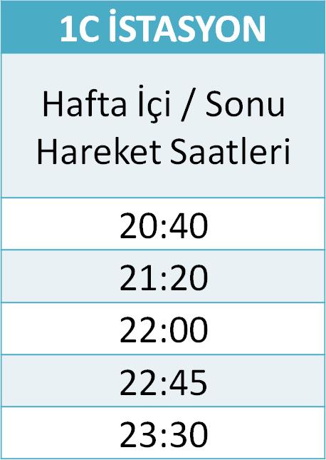 1 - İSTASYON HATLARI Otobüsü Saatleri