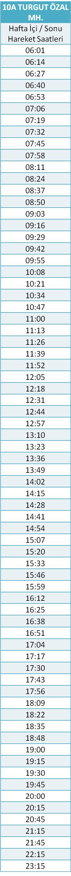 10 - TURGUT ÖZAL MH. HATTI Otobüsü Saatleri
