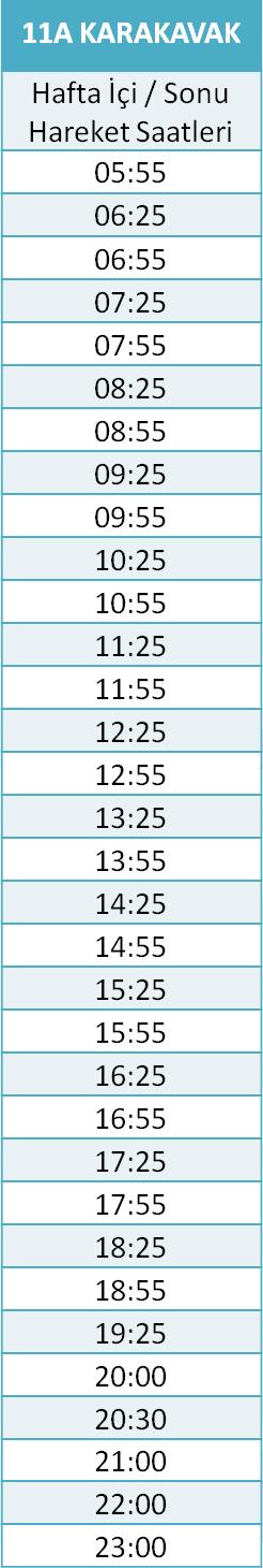 11 - KARAKAVAK HATTI Otobüsü Saatleri