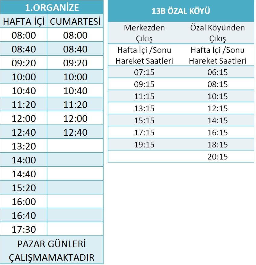 13 - ORGANİZE - ÖZAL KÖYÜ HATLARI Otobüsü Saatleri