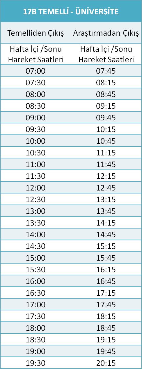 17 - ÜNİVERSİTE HATLARI Otobüsü Saatleri
