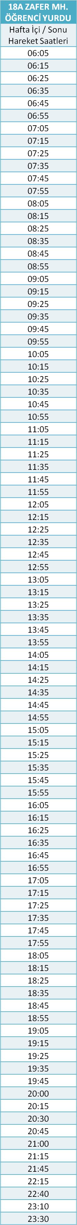 18 - ZAFER MH. HATTI Otobüsü Saatleri