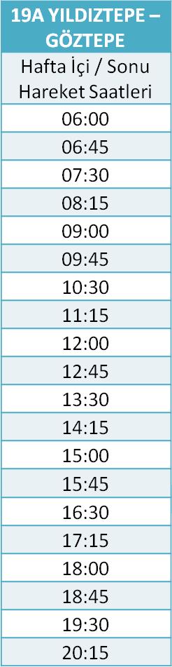 19 - GÖZTEPE - YILDIZTEPE Otobüsü Saatleri