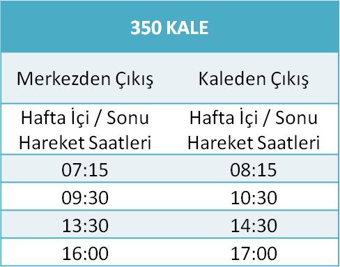 350 - KALE HATTI Otobüsü Saatleri
