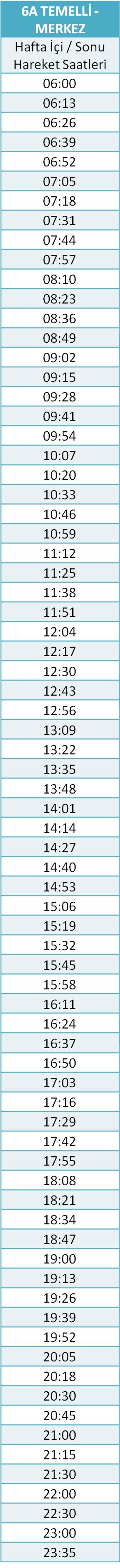 6 - TEMELLİ HATTI Otobüsü Saatleri