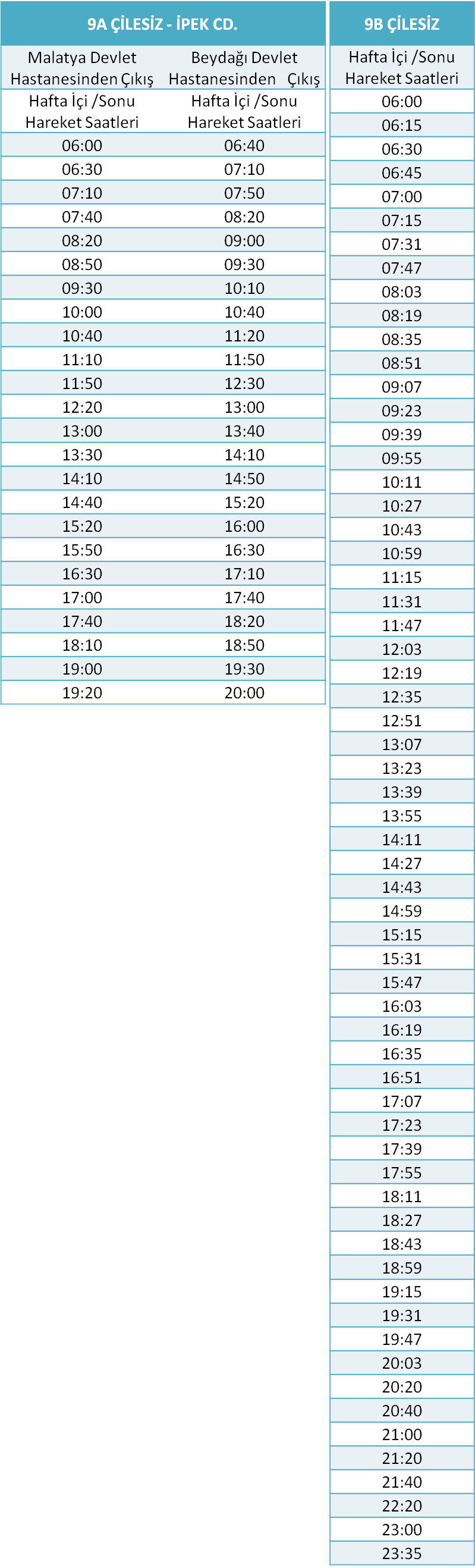 9 - ÇİLESİZ HATLARI Otobüsü Saatleri
